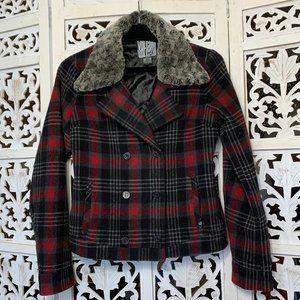 Volcom Plaid jacket w/ Removable Faux Fur Collar